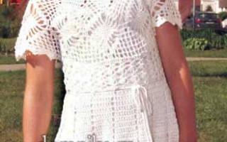 Белое платье для девочки: вариант до колен спицами