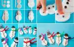 Снеговик из ватных дисков: делаем пошагово с фото