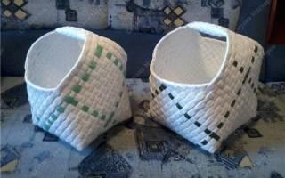 Плетение корзин из упаковочной ленты: мастер класс для начинающих своими руками