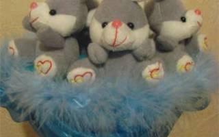 Букет из игрушек: видео уроки и мастер класс на рождение ребёнка