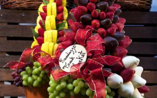 Топиарии из фруктов: мастер класс с фото