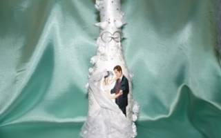 Декупаж свадебных бутылок шампанского: мастер класс с фото