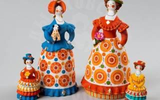Дымковская игрушка «барышня»: варианты из пластилина, из пластиковой бутылки и из глины